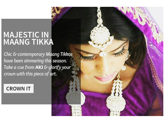 A stunning collection of Maang Tikkas. Shop Now!