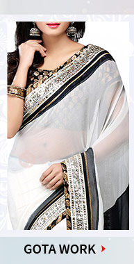 Gota & Patch work on Georgette Sarees, Straight Suits, Net Lehengas with Jewelry & more. Shop Now!
