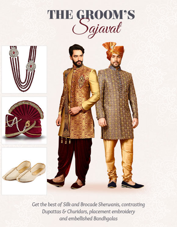 Groom's Sherwanis, Jodhpuri Suits, Kurta Pajamas, Turbans & more. Shop Now!