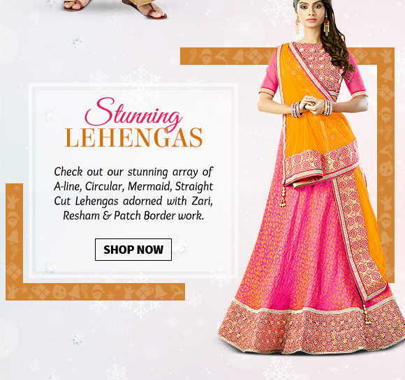 A-line, Circular, Mermaid, Straight Cut Lehengas adorned with Zari, Resham & Patch Border work. Buy Now!