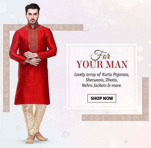 A lovely Collection of Kurta Pajamas, Sherwanis, Dhotis, Nehru Jackets & more. Buy Now!