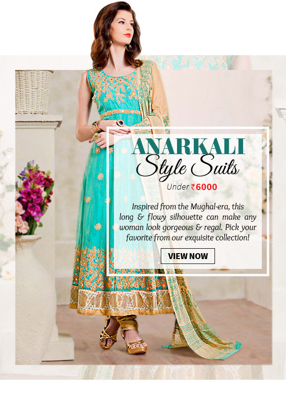 Choose from a wide range of Anarkali Style Suits. Buy Now!