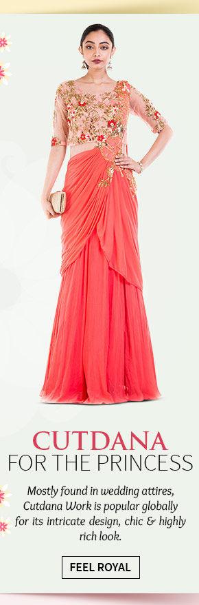 Beautiful Sarees, Salwar Suits, Lehenga Cholis & more with Cutdana work. Shop Now!