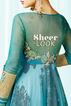 Sheers & Flares: Net Sarees, Anarkalis, Abaya style Suits & Circular Lehengas. Shop Now!