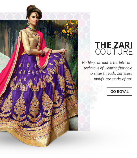 A lovely collection of Sarees, Salwar Suits, Dupattas & more with Zari work. Buy Now!