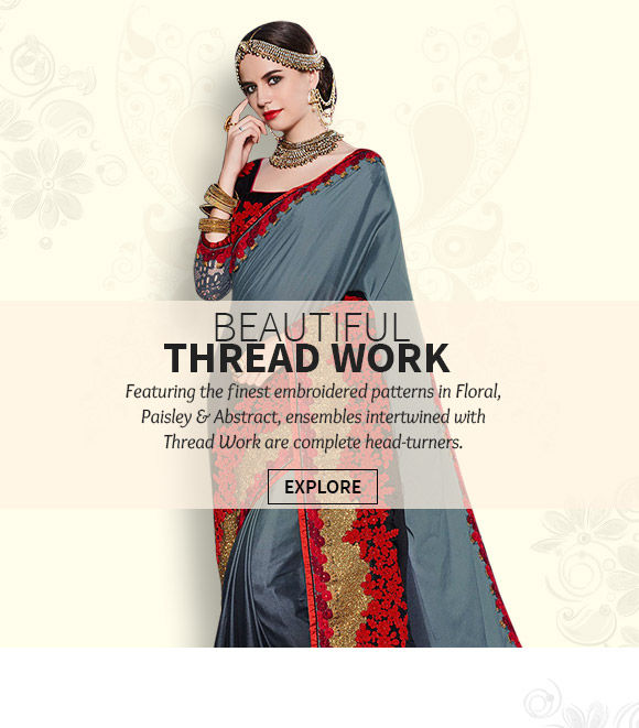 Beautiful Straight Suits, Kurta Pyjamas, Half N Half Sarees with Thread work. Buy Now!