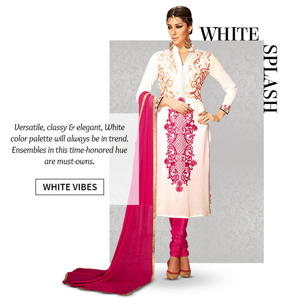 A lovely collection of Sarees, Salwar Suits, Lehenga Cholis & more in White hue. Shop Now!