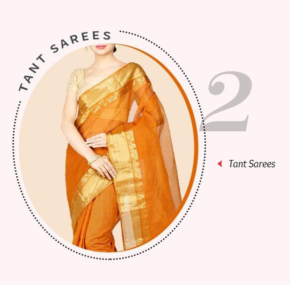 Handloom Tant Cotton Sarees. Shop Now!
