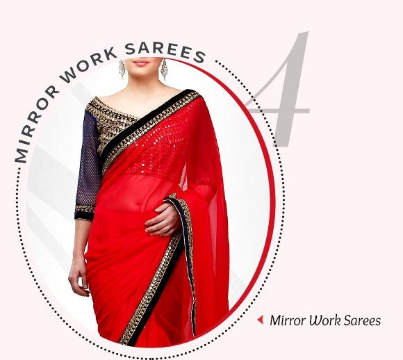 Sarees adorned with Mirror Work.Shop Now!