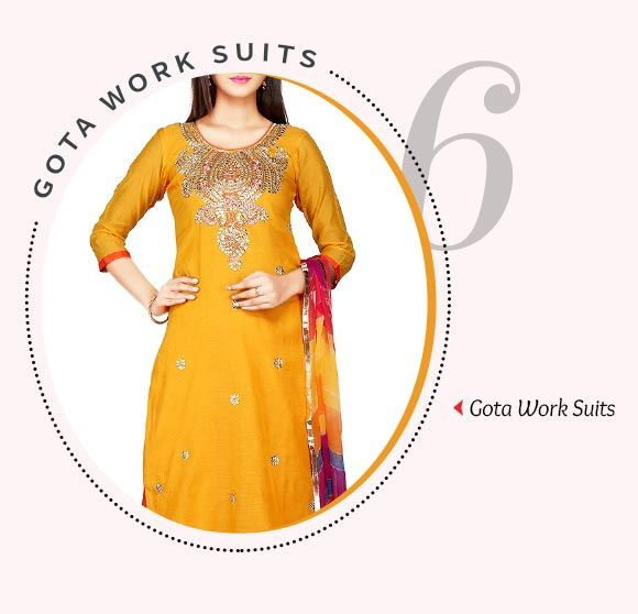 Salwar Suits adorned with Gota Work. Shop Now!