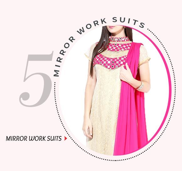 Salwar Suits adorned with Mirror Work. Shop Now!
