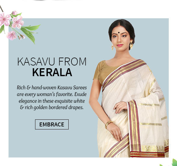 A beautiful collection of Kasavu Sarees. Shop Now!
