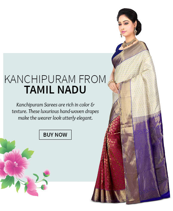 A myriad of gorgeous Kanchipuram Sarees. Shop Now!
