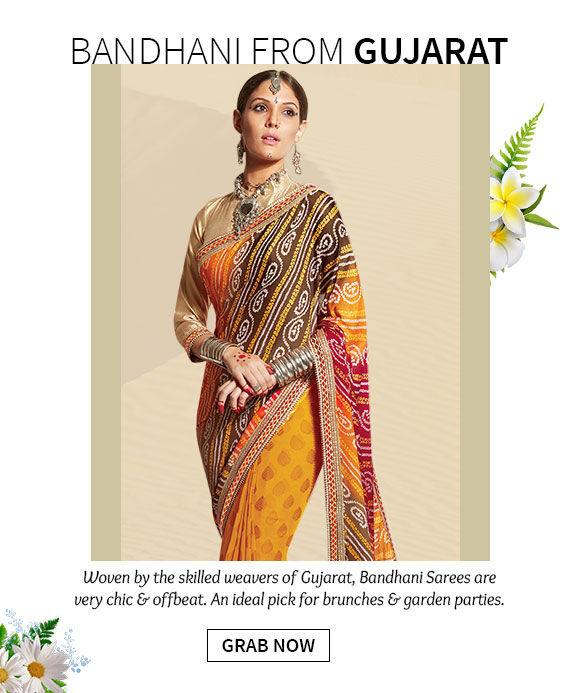 A lovely collection of Bandhani Sarees. Shop Now!