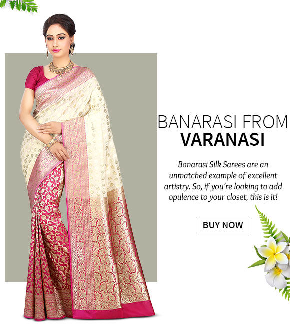 Choose from our gorgeous array of Banarasi Sarees. Shop Now!