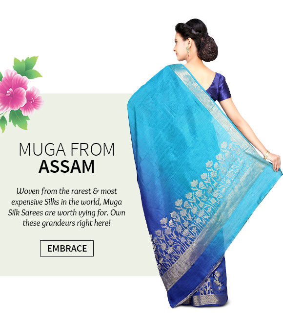 Choose from our beautiful range of Muga Silk Sarees. Shop Now!