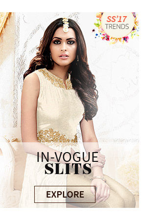 Salwar Kameez, Lehenga Cholis and Fusion Wear with front slits, thigh slits & more. Shop!
