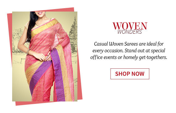 A wide range of gorgeous Casual Woven Sarees. Shop Now!