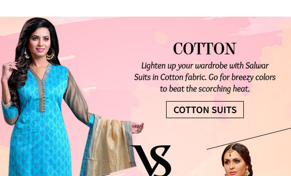 A lovely collection of Cotton Salwar Suits. Shop Now!