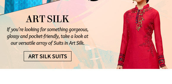 A lovely collection of Art Silk Salwar Suits. Shop Now!