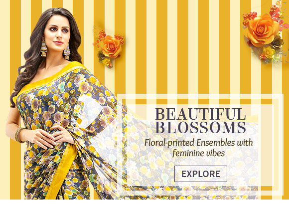 Sarees, Straight & Pakistani Suits, Kurtas, Tops with Bottoms with Floral Prints. Shop!