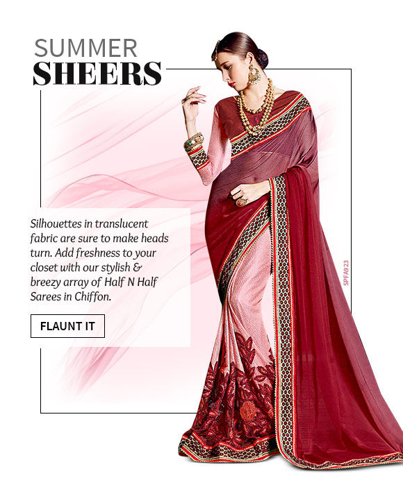 Choose from our wide range of gorgeous Chiffon Sarees. Shop Now!