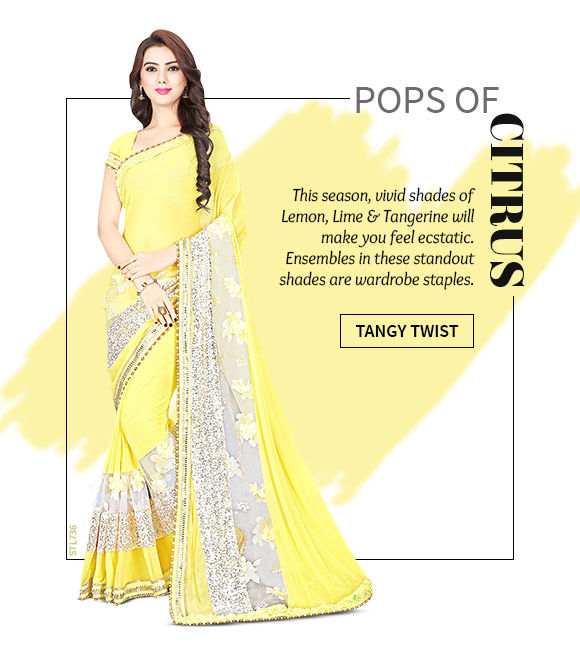 A beautiful range of Sarees, Salwar Suits, Lehenga Cholis & more in Orange Yellow hue. Shop Now!