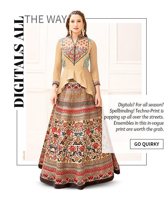Lovely array of Salwar Suits, Sarees, Indo-western & more in Digital print. Shop Now!