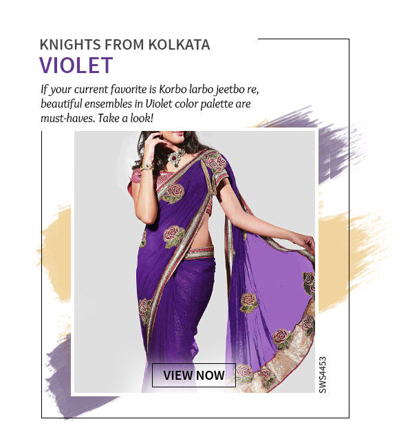 Cheer for Kolkata in Straight Cut Suits, Palazzos, Tops & more in Violet hue. Shop Now!