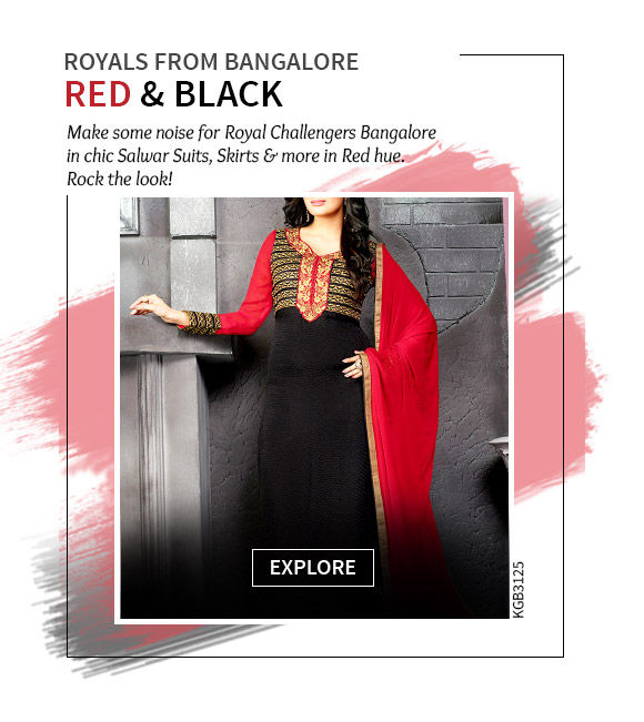 Cheer for Bangalore in Red Sarees, Skirts, Salwar Suits & more. Shop Now!