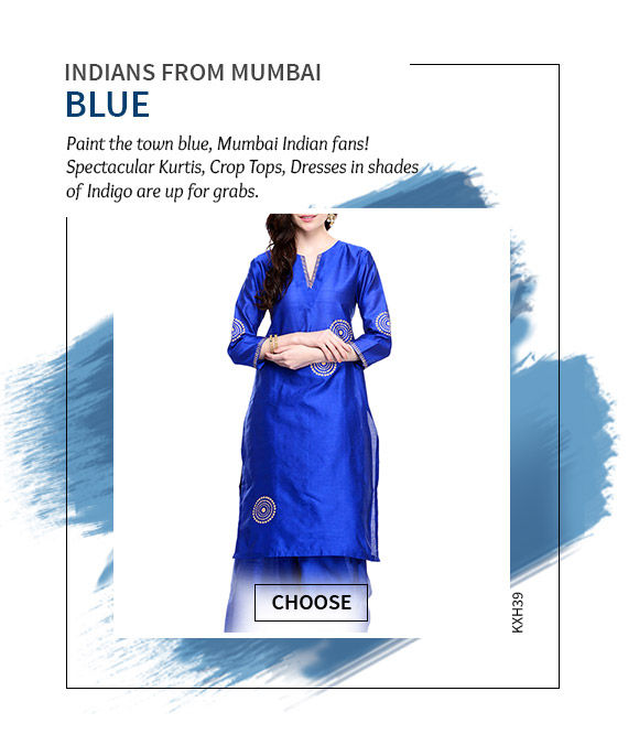 Cheer for Mumbai in our beautiful array of Blue Sarees, Long Kurtas & more. Shop Now!