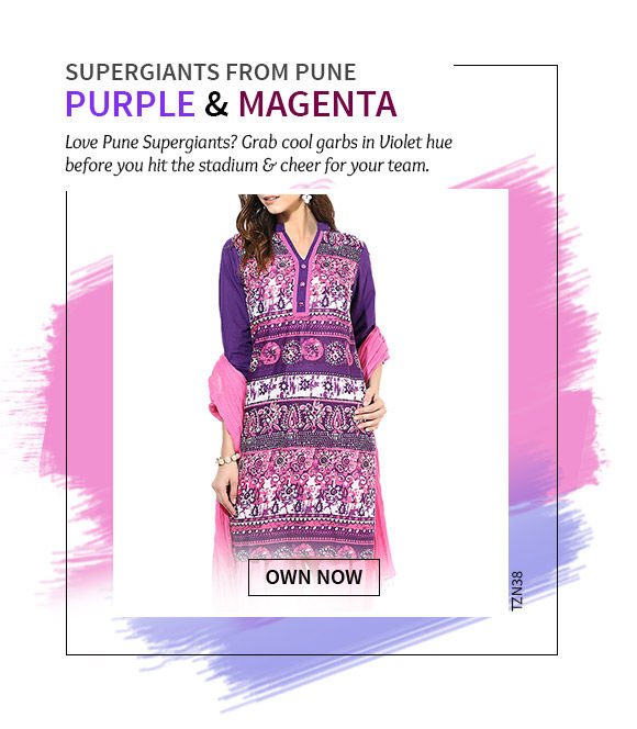 Cheer for Pune Giants in our beautiful collection in Purple hue. Shop Now!