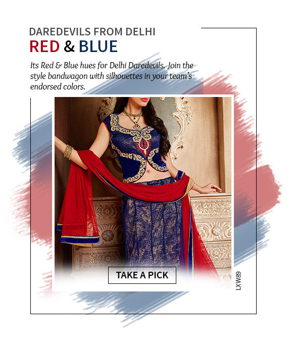 Cheer for Delhi in our beautiful array of Ensembles in Red & Blue colors. Shop Now!
