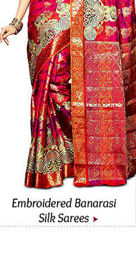 Shop from our Embroidered Banarasi Silk Sarees!