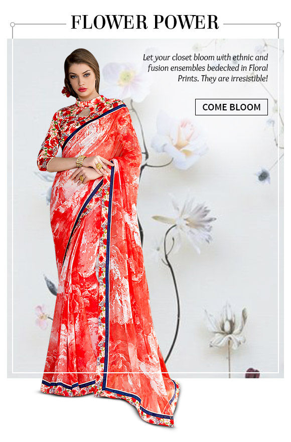 The Floral Printed line of Sarees, Salwar Suits, Lehengas, Fusion Wear and more. Shop!