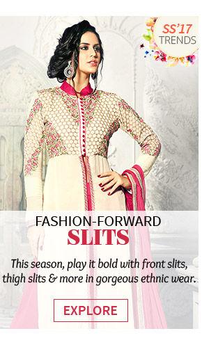 Salwar Kameez, Lehenga Cholis and Fusion Wear with front slits, thigh slits & more. Shop!