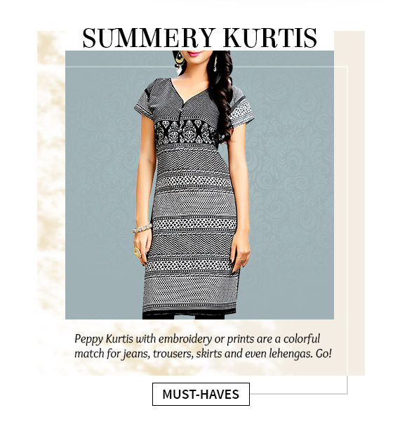 Kurtis in Cotton, Georgette and more. Shop!