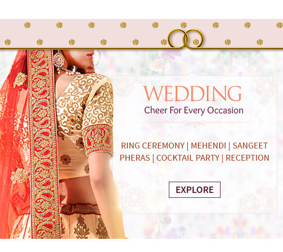 Wedding Closet: Jacket Lehengas, Georgette, Kanchipuram, Gowns, Kurta Pajamas, Gifts & more . Shop!
