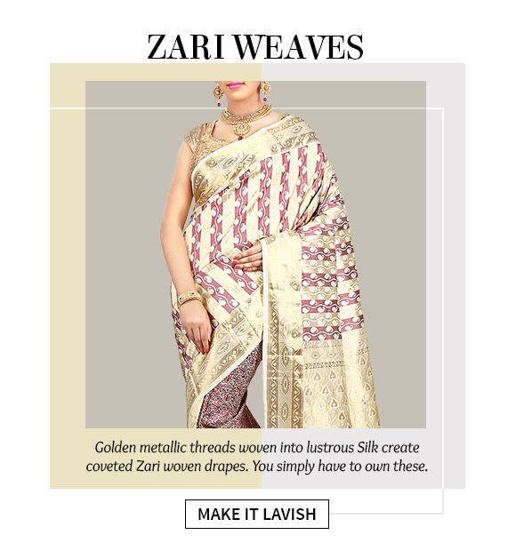Woven Zari Sarees for weddings. Shop!