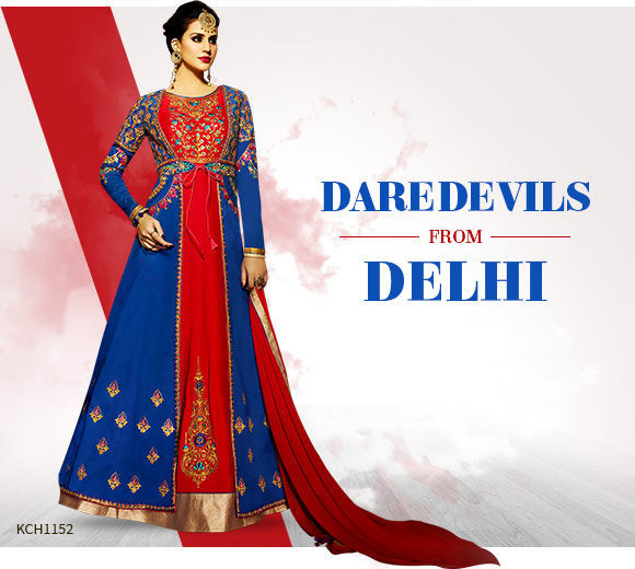 Ethnic ensembles in Red & Blue color. Shop!