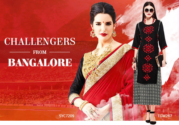 Ethnic ensembles in Red and Black color. Shop!
