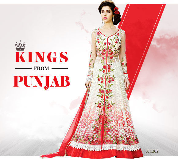 Ethnic ensembles in Red and White color. Shop!