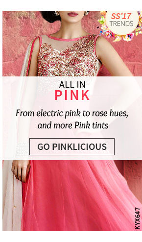 Ensembles from India in blushing pink, electric pink, rose hues, neon pink, petal pink & more. Shop!
