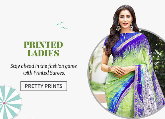 Choose from our wide array of Printed Sarees. Shop Now!