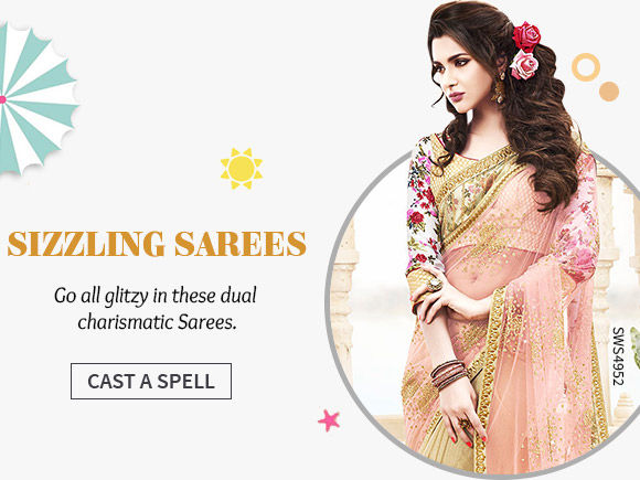 A gorgeous array of Half N Half Sarees. Shop Now!