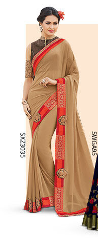 A myriad of smart Plain Bordered Sarees. Shop Now!