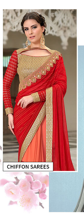 Explore fresh styles in Chiffon Sarees. Buy Now!