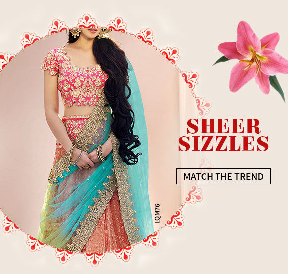 A lovely collection of Net Sarees, Abaya Style Suits, Circular Lehengas & more. Shop Now!