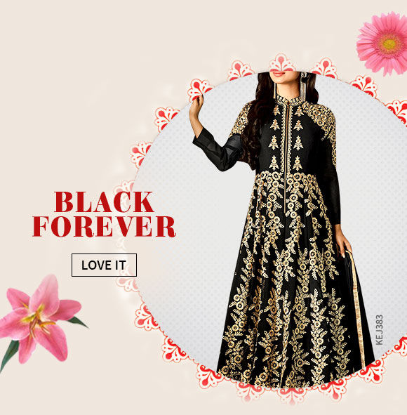 A beautiful array of Sarees, Salwar Suits, Lehenga Cholis & more in Black hue. Shop Now!