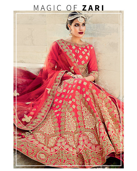 An inspiring repertoire of single style Zari work Lehenga Cholis. Buy Now!